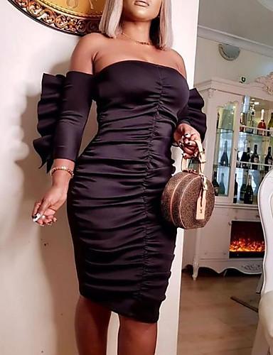 abordables Robes Femme-Femme Basique Mi-long Moulante Robe - Plissé, Couleur Pleine Noir S M L Demi Manches