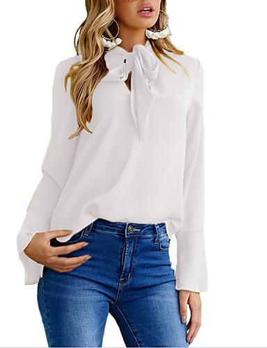 billige Dametopper-Skjorte Dame - Ensfarget, Lapper Gatemote Svart / Hvit / Blå Svart