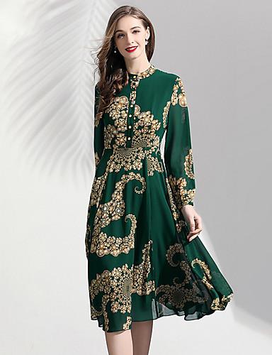voordelige Tot $99,99-A-lijn Hoge nek Over de knie Polyester Bruidsmoederjurken met Patroon / Print door LAN TING Express