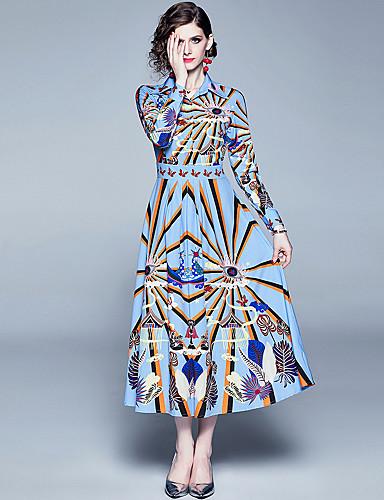 Kadın's Zarif A Şekilli Elbise - Soyut, Desen Maksi