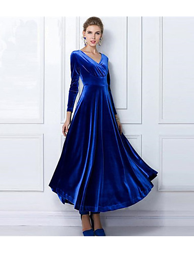 abordables Robes Femme-Femme Bohème Maxi Gaine Balançoire Robe Couleur Pleine Vin Violet Bleu S M L Manches Longues