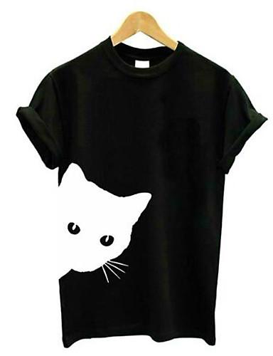 abordables Hauts pour Femmes-Tee-shirt Femme, Couleur Pleine / Animal Mosaïque Basique Chat Noir