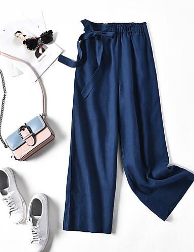 abordables Pantalons Femme-Femme Ample Ample Pantalon - Couleur Pleine Lacet Lin Noir Blanche Rouge M L XL