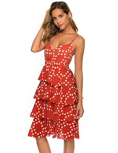 abordables Robes Femme-Femme Basique Mi-long Gaine Robe - Multirang Mosaïque, Points Polka Orange S M L Sans Manches