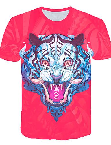 Erkek Tişört Desen, Zıt Renkli / 3D / Hayvan Sokak Şıklığı / Abartılı YAKUT