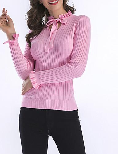 abordables Hauts pour Femmes-Femme Couleur Pleine Manches Longues Pullover, Mao Printemps / Automne Noir / Blanche / Rose Claire M / L / XL