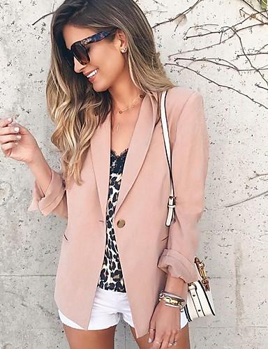 billige Ytterklær til damer-Dame Blazer, Ensfarget Hakkjakkeslag Polyester Rosa