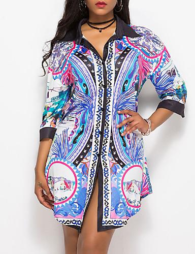 billige Dametopper-Skjorte Dame - Geometrisk Vintage Lilla