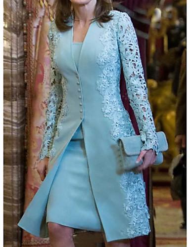 cheap Women's Dresses-Women's Basic Two Piece Dress - Geometric Lace Light Blue M L XL XXL