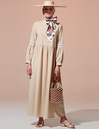 voordelige Maxi-jurken-Dames Vintage Boho A-lijn Jurk - Effen, Kant Met ruches Patchwork Maxi