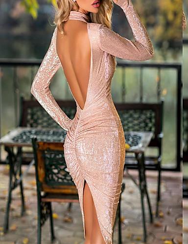 voordelige Maxi-jurken-Dames Verfijnd Elegant Bodycon Schede Jurk - Effen, Blote rug Patchwork Midi