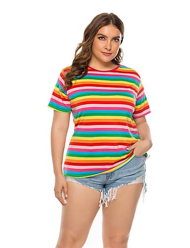billige Topper til damer-T-skjorte Dame - Regnbue, Trykt mønster Grunnleggende Regnbue