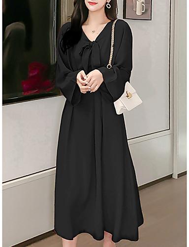 abordables Robes Femme-Femme Rétro Vintage Midi Trapèze Robe - Noeud Plissé, Couleur Pleine Noir Beige S M L Manches Longues