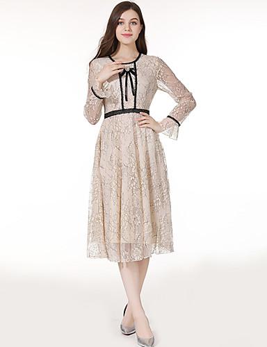 Kadın's Zarif A Şekilli Elbise - Solid, Fiyonklar Fırfırlı Kırk Yama Diz-boyu