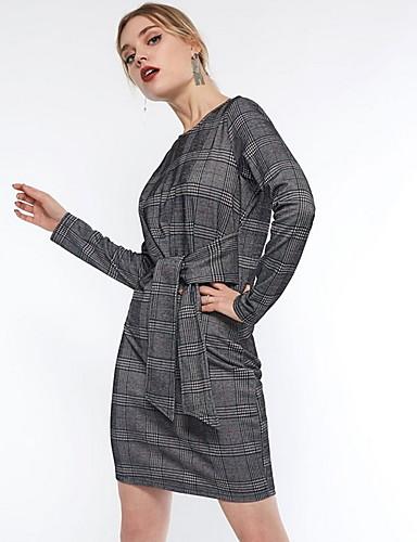 Kadın's Bandaj Elbise - Ekose Mini
