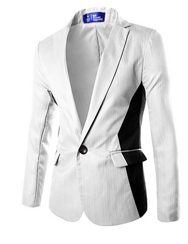 Erkek Blazer Şal Yaka Polyester Siyah / Açık Gri / Beyaz US32 / UK32 / EU40 / US34 / UK34 / EU42 / US36 / UK36 / EU44