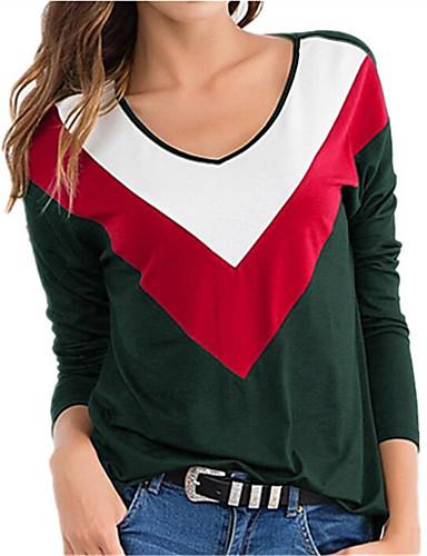 billige Dametopper-T-skjorte Dame - Ensfarget / Fargeblokk, Lapper Grunnleggende / Punk & Gotisk BLå & Hvit / Svart & Rød / Svart og hvit Svart