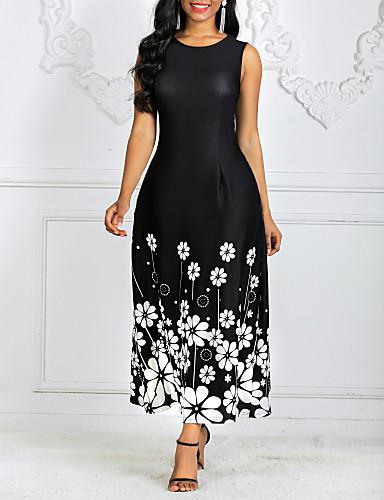 hesapli Print Dresses-Kadın's Kılıf Elbise - Çiçekli, Desen Maksi