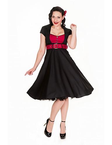 billige Kjoler-Dame Vintage Sofistikert A-linje Skjede Skater Kjole - Fargeblokk, Multi Layer Snorer Knelang Svart & Rød