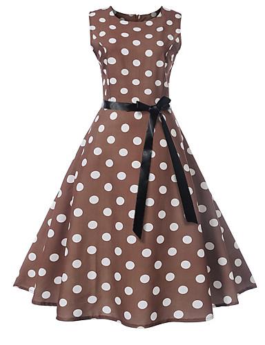 Kadın's Vintage A Şekilli Elbise - Yuvarlak Noktalı Çiçekli, Desen Diz-boyu