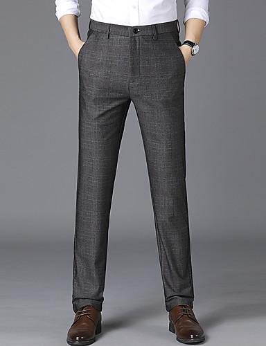 Erkek Temel Takım Elbise Pantolon - Ekoseli / Damalı Havuz Koyu Gri US34 / UK34 / EU42 US36 / UK36 / EU44 US38 / UK38 / EU46