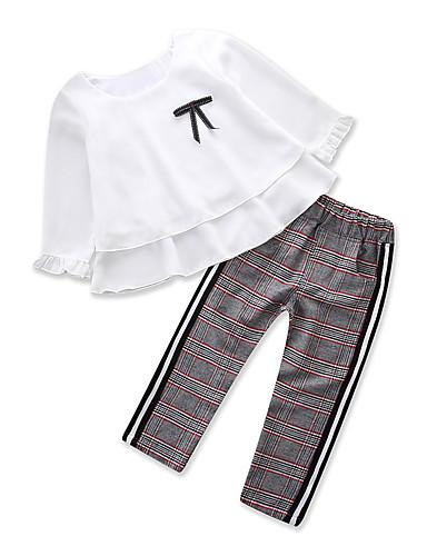 Çocuklar Genç Kız Temel Günlük Giyim Solid Uzun Kollu Normal Normal Kıyafet Seti Beyaz