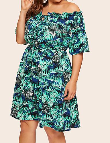voordelige Grote maten jurken-Dames Boho Street chic Skater Jurk - Bloemen, Trekkoord Boven de knie Tropisch blad