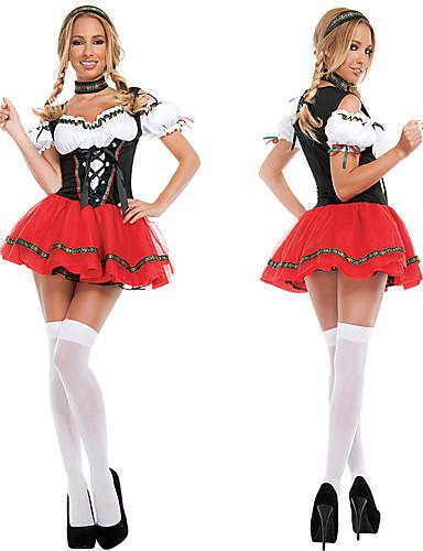 billige Karnevalkostymer-Karneval Oktoberfest Dirndl Trachtenkleider Dame Kjole Hodeplagg Nakkeklær bayerske Kostume Rød
