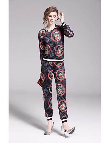 ราคาถูก เสื้อผู้หญิง-สำหรับผู้หญิง Punk & สไตล์โกธิค / Chinoiserie ชุด - ลายบล็อคสี กางเกง ลายพิมพ์