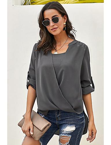 billige Topper til damer-Skjorte Dame - Ensfarget, Flettet Grunnleggende Svart