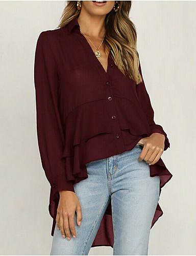 billige Dametopper-Skjorte Dame - Ensfarget, Drapering / Lapper Gatemote / Elegant Svart