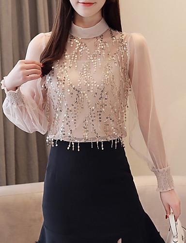 Kadın's Bluz Payetler / Kırk Yama, Solid Bej