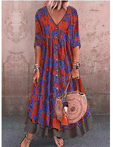 Žene Ulični šik Shift Haljina - Print, Geometrijski oblici V izrez Maxi