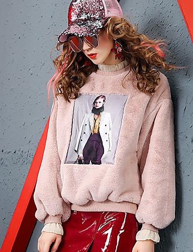 povoljno Ženske majice-Žene Color block Dugih rukava Pullover, Okrugli izrez Jesen / Zima Obala / Blushing Pink M / L / XL