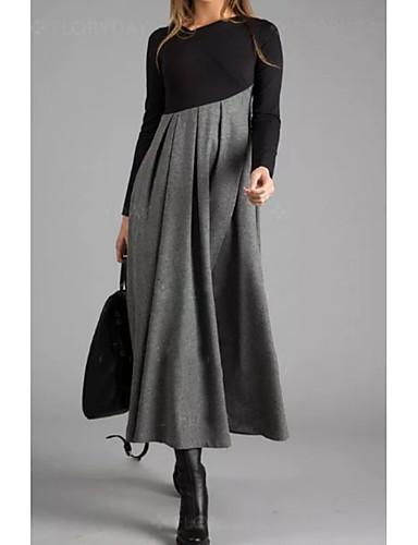 povoljno Pretprodaja-Žene Elegantno A kroj Haljina Color block Maxi