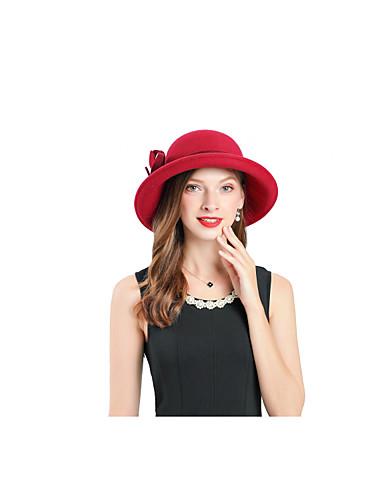 billige Tilbehør til damer-Dame Fest Kontor søt stil Fedora Ensfarget Ull Rød
