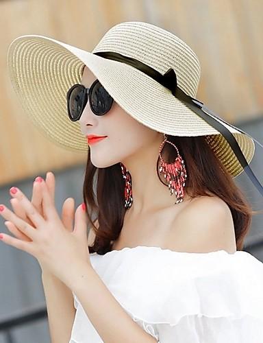 abordables Accessoires Femme-Femme Paille Basique Chapeau de Paille Couleur Pleine Noir Blanche Rose / Blanc Eté Automne