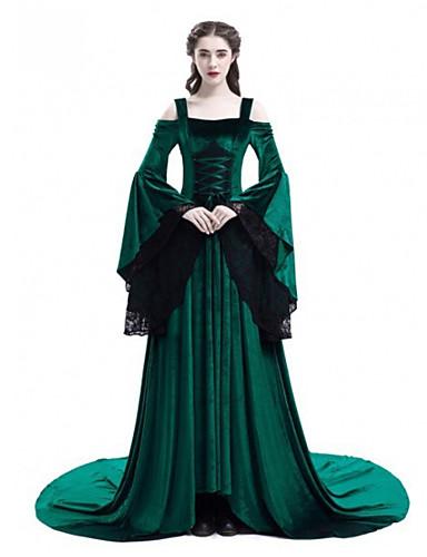abordables Robes Femme-Femme Rétro Vintage Maxi Balançoire Robe - Dentelle, Couleur Pleine Noir Rouge Vert S M L Manches Longues