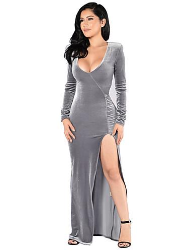 abordables Robes Femme-Femme Elégant Maxi Balançoire Robe Couleur Pleine Bloc de Couleur Bleu Marine Gris M L XL Manches Longues