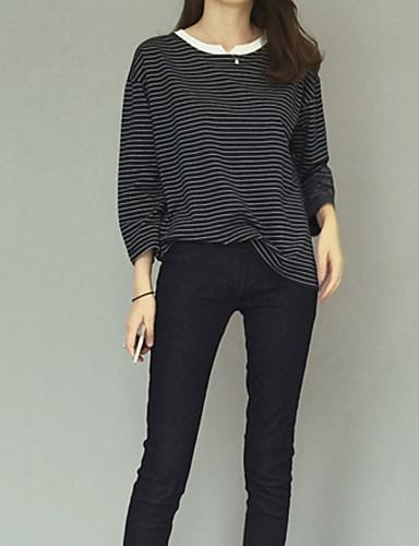 billige Topper til damer-T-skjorte Dame - Stripet, Trykt mønster Grunnleggende Svart