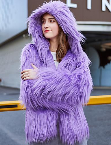 billige Ytterklær til damer-Dame Daglig / Arbeid / Strand Vinter Kort Faux Fur Coat, Ensfarget Med hette Langermet Fuskepels Vin / Lyseblå / Lyseblå