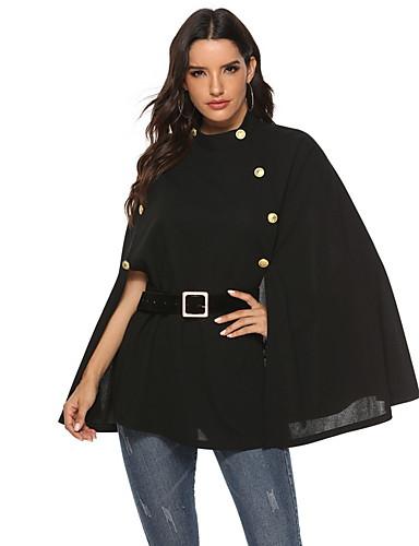 voordelige Damesjassen & trenchcoats-Dames Dagelijks Herfst winter Normaal Cloak / Capes, Effen Ronde hals Lange mouw Polyester Zwart