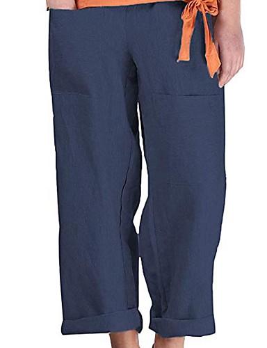 abordables Pantalons Femme-Femme Basique Ample Chino Pantalon - Couleur Pleine Mosaïque Coton / Lin Noir Bleu Marine Beige S M L