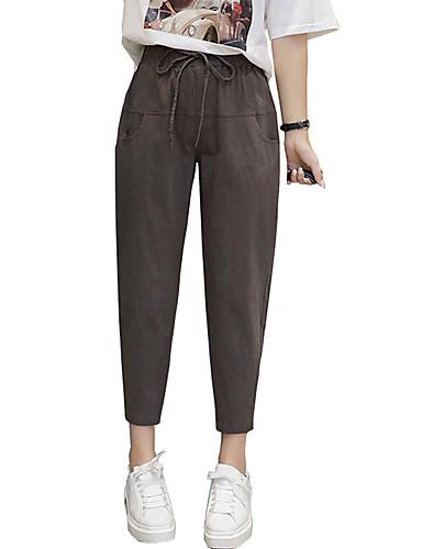 economico Pantaloni da donna-Per donna Essenziale Largo Harém Pantaloni - Tinta unita Collage Cotone Marrone Grigio L XL XXL