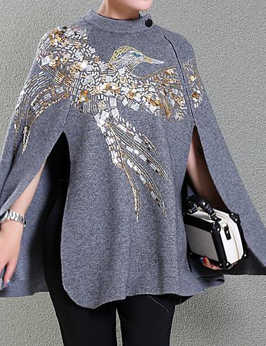 billige Ytterklær til damer-Dame Daglig Høst vinter Normal Cloak / Capes, Geometrisk Rund hals Langermet Polyester Svart / Grå