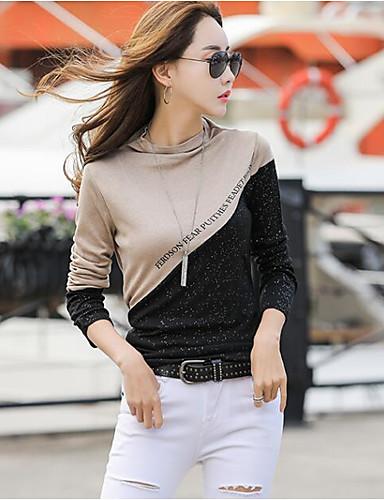 povoljno Ženske majice-Majica s rukavima Žene - Osnovni Dnevno Color block Kolaž Crno i sivo Tamno siva