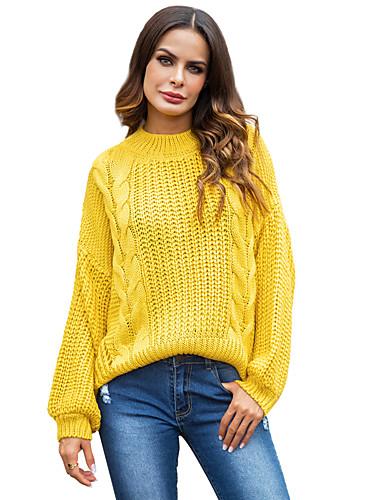abordables Hauts pour Femmes-Femme Couleur Pleine / Rayé Manches Longues Pullover, Bijoux Automne / Hiver Rose Claire / Jaune L / XL