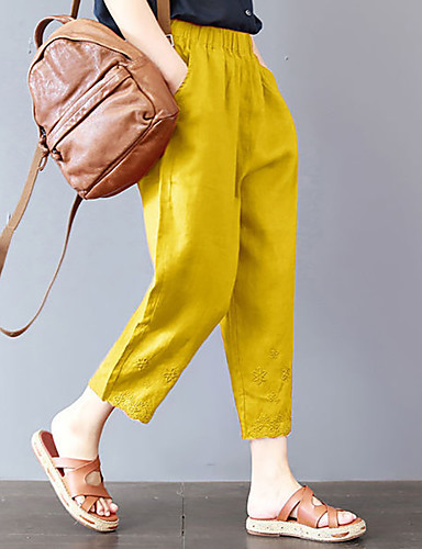 Kadın's Temel Harem Pantolon - Solid Siyah Fuşya Sarı M L XL