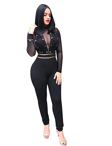 povoljno Ženske majice-Žene Ulični šik Crn Jumpsuits, Jednobojni S M L