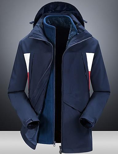 voordelige Herenjacks & jassen-Heren Dagelijks Standaard Normaal Jack, Kleurenblok Capuchon Lange mouw Polyester blauw / Wit